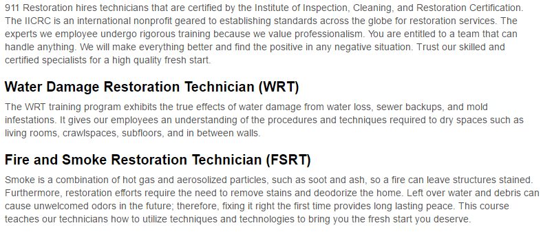 911 Restoration of Denton County Certification Page
